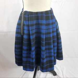 ASOS Blue Plaid Circle Pleated Skirt